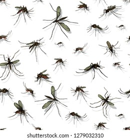 pattern of mosquitoes, color, various options of poses