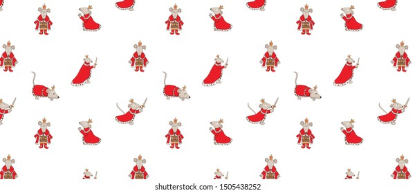 pattern with Mouse King set on white background. Cute cartoon character