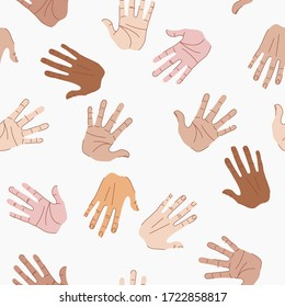 Pattern with multicultural hands. Hands of different skin color. Vector illustration of hands. High five background