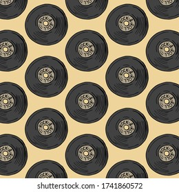 Pattern with musik plate, Isolated vector illustration.