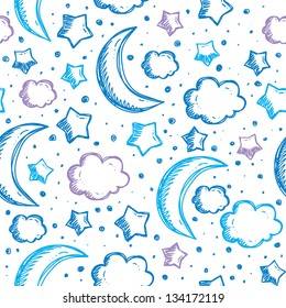 pattern with night sky, hand drawn vector illustration