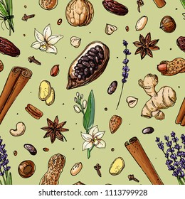 Pattern Nuts and spices line drawn on a white background. Sketch of food. Walnut, cocoa beans, vanilla, Gorica, almonds, hazelnuts, peanuts, anise