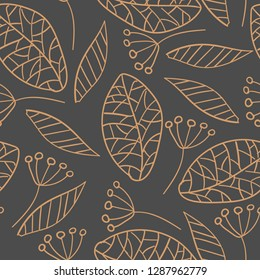 Pattern with ochre foliage on grey background. EPS10