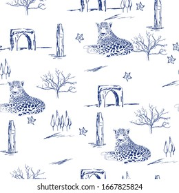 Pattern with old temple, leopard and arbor with in toile de jouy style in blue and white colour.