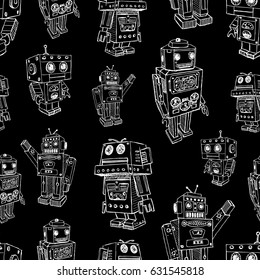 pattern of the old toy robots