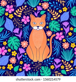 Pattern with orange cat and tropical flowers and leaves on dark background