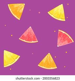 Pattern with orange, lemon and grapefruit. Vector Illustration.