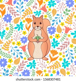 Pattern with orange squirrel,flowers and leaves on white background