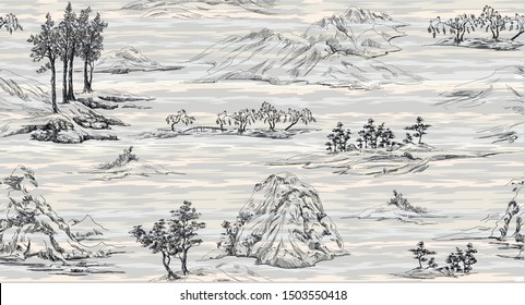 Pattern with oriental landscape with mountains and hills and trees,oriental nature in toile de jouy style, blue elements on grey background with textile soft stripes