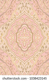 Pattern With Ornamental Flowers Filigree Ornament In Pastel Colors Pink Template For Wallpaper