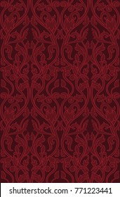 Pattern with ornamental flowers. Filigree ornament in red colors. Template for wallpaper, textile, shawl, carpet and any surface.