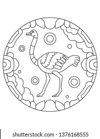 Pattern with ostrich. Illustration of an ostrich. Mandala with an animal. Ostrich in a circular frame. Coloring page for kids and adults.