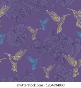 Pattern with outline orchid flower and colibri bird. Violet background. For cloth, paper, etc.