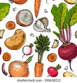 The pattern of painted colored vegetables line drawn on a white background. Skertch autumn harvest.