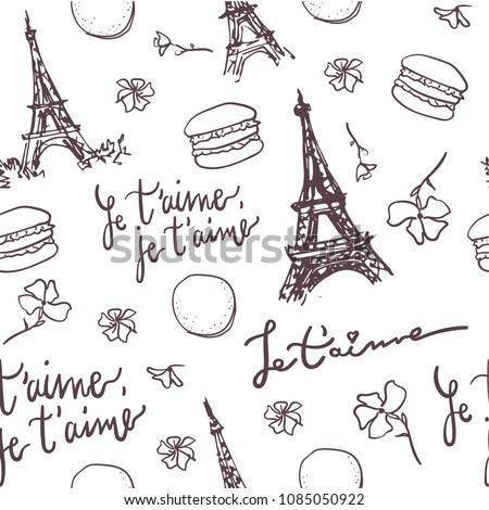 Pattern Paris Eiffel Tower French Quotes Stock Vector Royalty Free Amazing Pattern Quotes