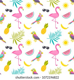 Pattern with parrots, flamingo birds and fruits