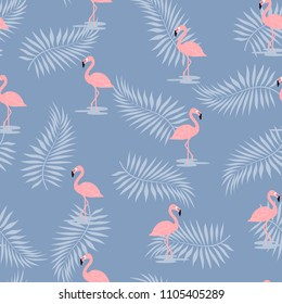 pattern with pink flamingo on blue background with palm leaves, cute background with exotic bird, tropical wallpaper