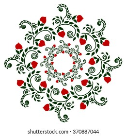 Pattern plants garnet in color, ethnic style embroidery, drawing on cookware or vase, holiday, or other