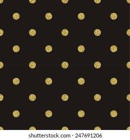 Pattern polka dot on black background. Classic dotted seamless gold glitter pattern.