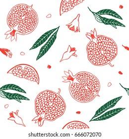 Pattern pomegranate fruit. Pomegranate of hand drawn vector illustration. Botanical fruit. Engraved pomegranate.