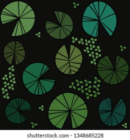 Pattern pond texture with lily pads on the surface top. Vector illustration