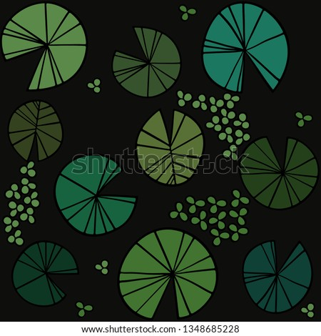baefaaece Pattern pond texture with lily pads on the surface top. Vector illustration