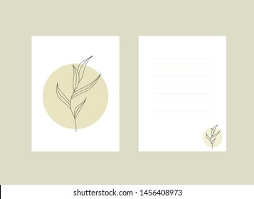 Pattern for postcard, celebration, invitation, presentation. Template for letter with beautiful minimalism flovers. Greeting card. Vector illustration