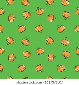 Pattern of a pumpkin. Image of a textured background to decorate. Drawing of a pumpkin made in a loose stroke. Editable vector.