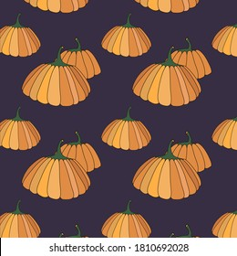 Pattern with pumpkins on a dark background. Wallpaper. Wrapping paper. Print for fabric. Autumn design.