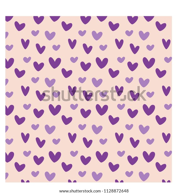 Pattern Purple Hearts Great Wallpaper Background Stock Vector Royalty Free 1128872648