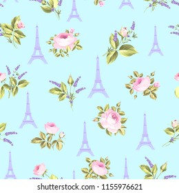 Pattern with red flowers, leaves and eiffel tower. Seamless blue background for fabric design.