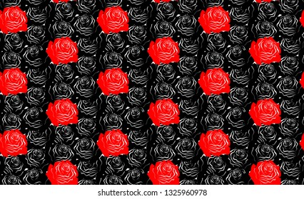 Pattern with red roses on dark background. Vector image