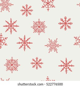 Pattern of red snowflakes on a light background. Snowflake vector pattern.