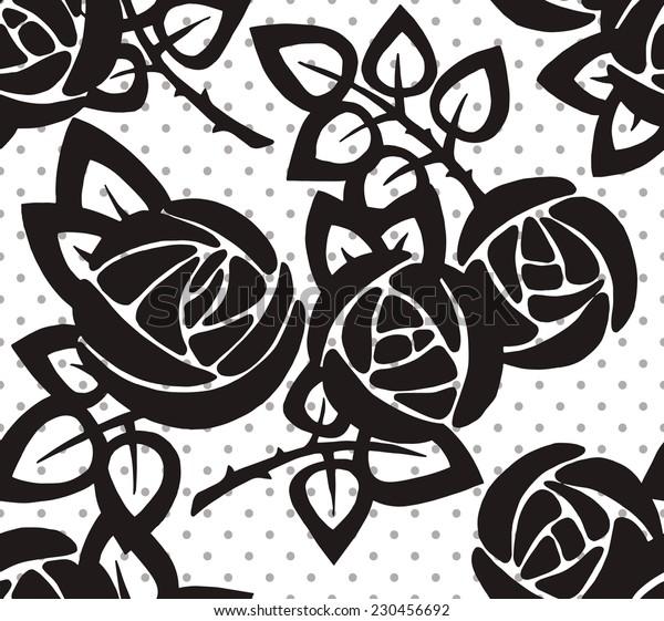 Pattern Rose Black&White Circle