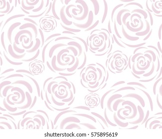 Pattern with rose blossoms on a white background. Simple vintage floral background. Ornament with painted pink flowers Pink color Seamless vector illustration