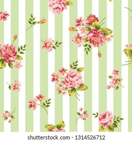 Pattern of rose and Stripes. Vector illustration. Suitable for fabric, wrapping paper and the like - Vector