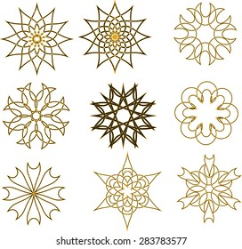 Pattern of round design elements. Circular design elements spirograph. Vector templates