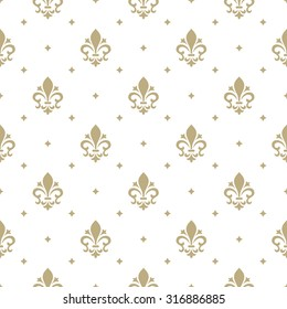 Pattern with royal lily. Seamless vector background. Floral ornament.