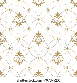 Pattern with royal lily. Seamless vector background. Floral ornament. Gold and white pattern
