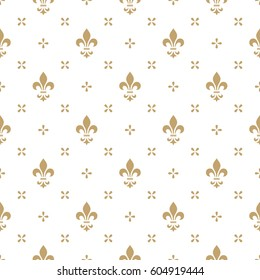 Pattern with royal lily. Seamless vector background. Floral ornament. Graphic modern pattern.