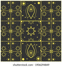Pattern rug consisting of black and yellow space geometric pattern. Poster design.