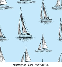 Pattern of the sailing yachts in the sea