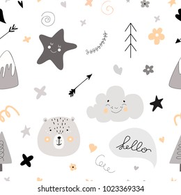 Pattern Scandinavian kids doodles elements monochrome elements cute faces of bear fir tree lettering clouds characters and star background (arrows and smiling star) grey black white yellow