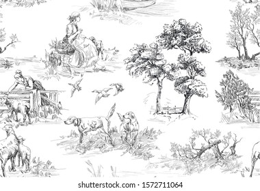 Pattern with scenes of countryside life with house, sheeps, people, bird, trees and dog in french toile de jouy style in black and white color