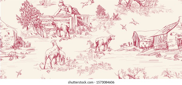 Pattern with scenes of countryside life with house, sheeps, people, trees in red on beige color  in toile de jouy style