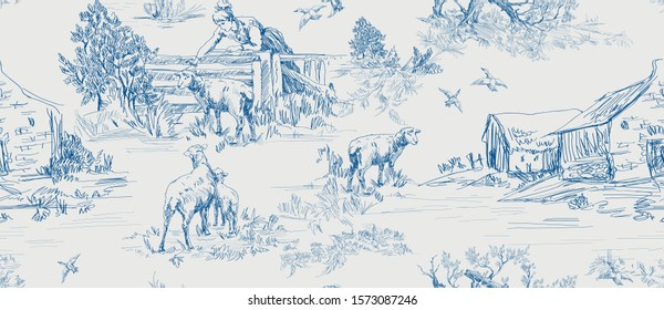 Pattern with scenes of countryside life with house, sheeps, people, trees in blue on grey color  in toile de jouy style
