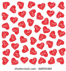 Pattern Scratched Hearts. Vector design graphic