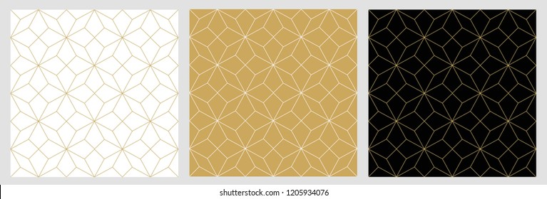 Pattern seamless abstract star background  gold luxury color and line. Geometric line vector Christmas background