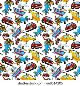 Pattern for seamless background with cars, airplanes, ships and helicopters.