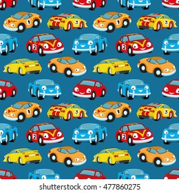 Pattern for seamless background. Cute colorful cars.